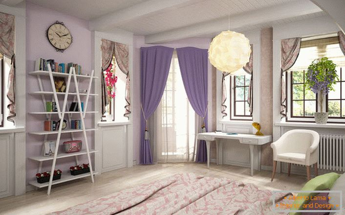 The bedroom in the French style is bright and spacious. Window openings are decorated with laconic lambrequins.
