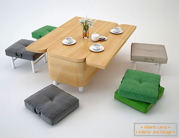 Dining table and pouffes