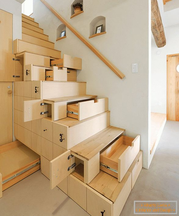 Stairs with shelves and drawers