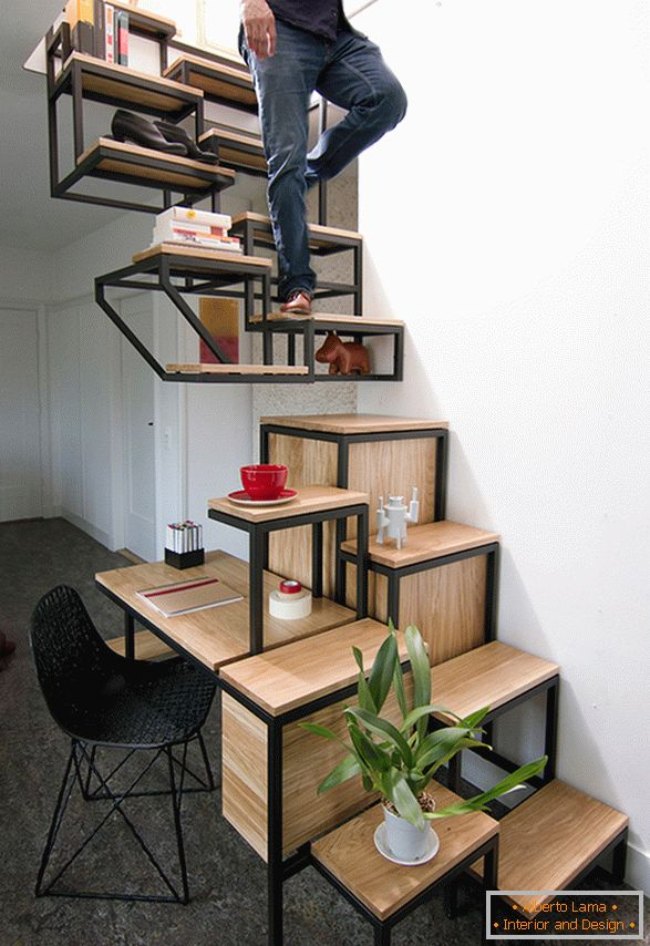 Stairs with shelves