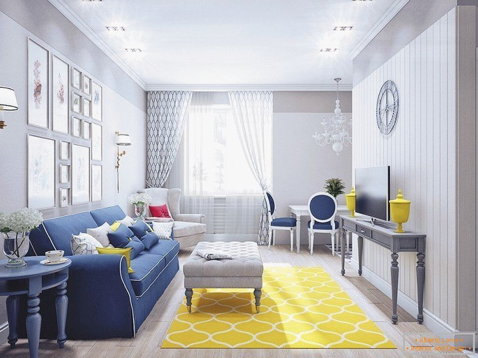 Gray living room with yellow carpet