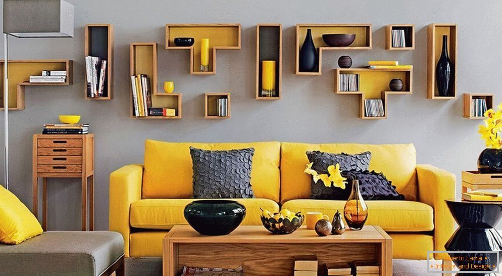 Yellow in gray interior