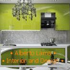 Light green furniture in the kitchen