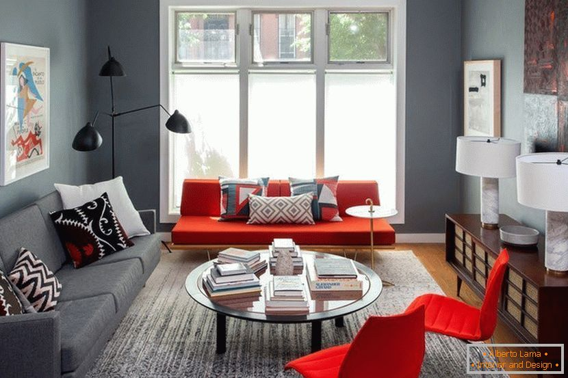 Red armchairs in the gray living room