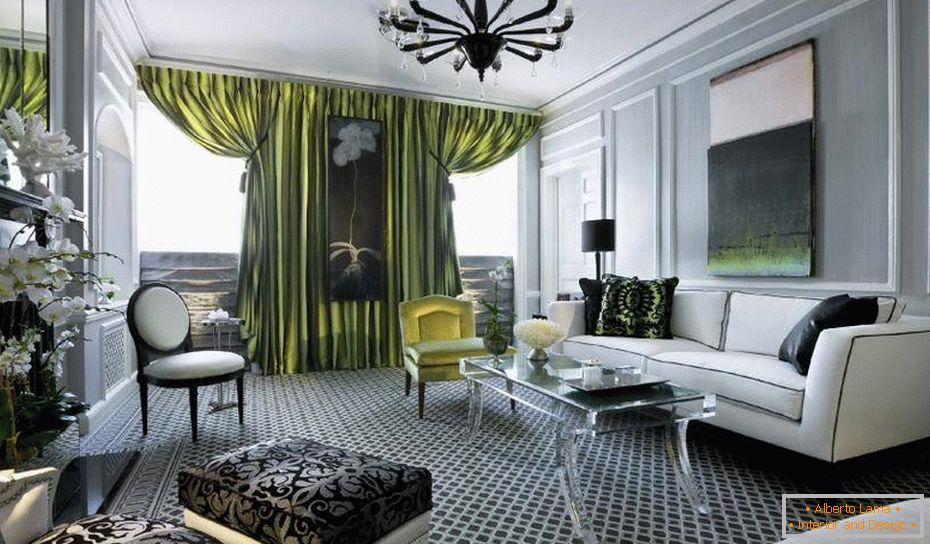 Green curtains in a gray interior