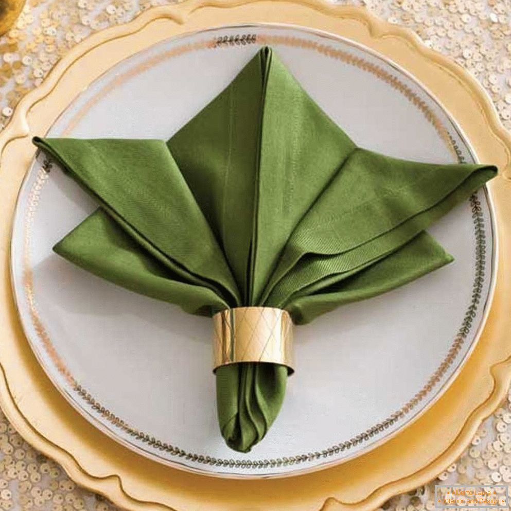 Drape the napkin with a metal ring