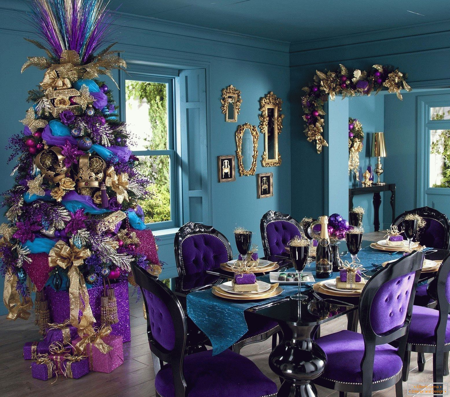 New Year's room in lilac color
