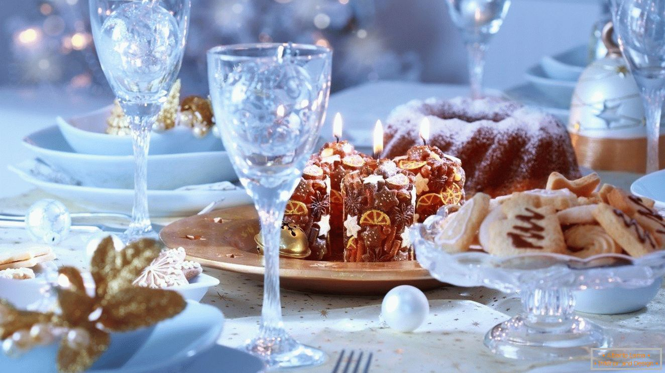 The radiance of the crystal glasses on the festive table