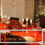 Red tablecloth is an ideal option for a festive table