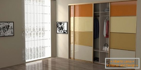 Built-in wardrobes compartment - photo design in the bedroom with glass