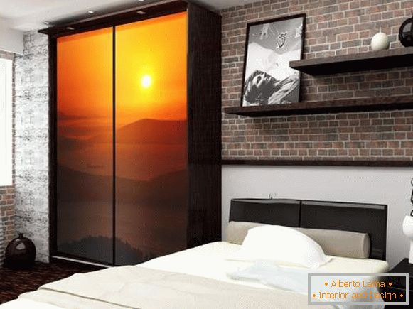 Original ideas of the wardrobe in the bedroom - photo printing on the door
