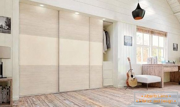 The ideas of the wardrobe in the bedroom - built-in model with backlight
