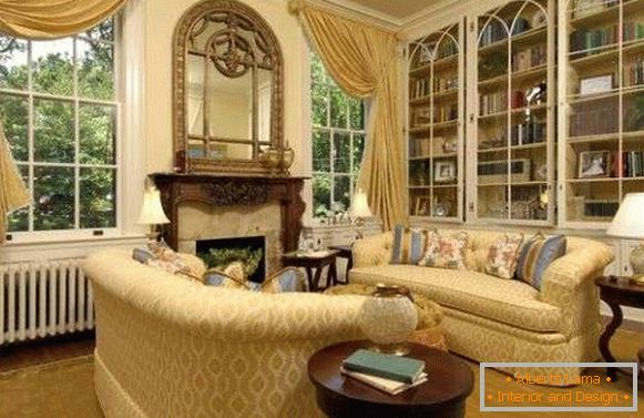 Bookcases with glass doors in classic style