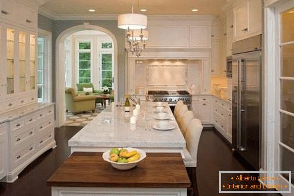 Kitchen design with glass doors and lighting