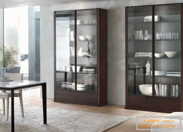 Glass doors for the cabinet - photo in the living room dining room design