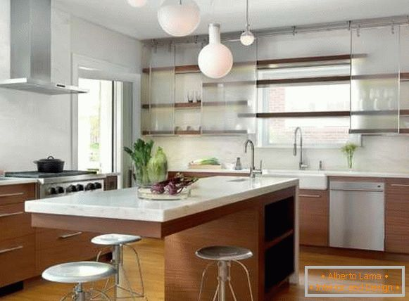 Glass doors for a cabinet in the kitchen - photos of unusual ideas