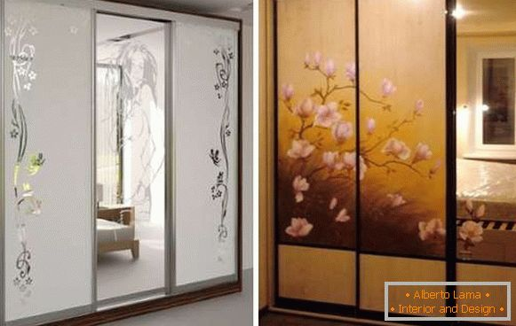 Glass doors for a cabinet with a pattern and patterns