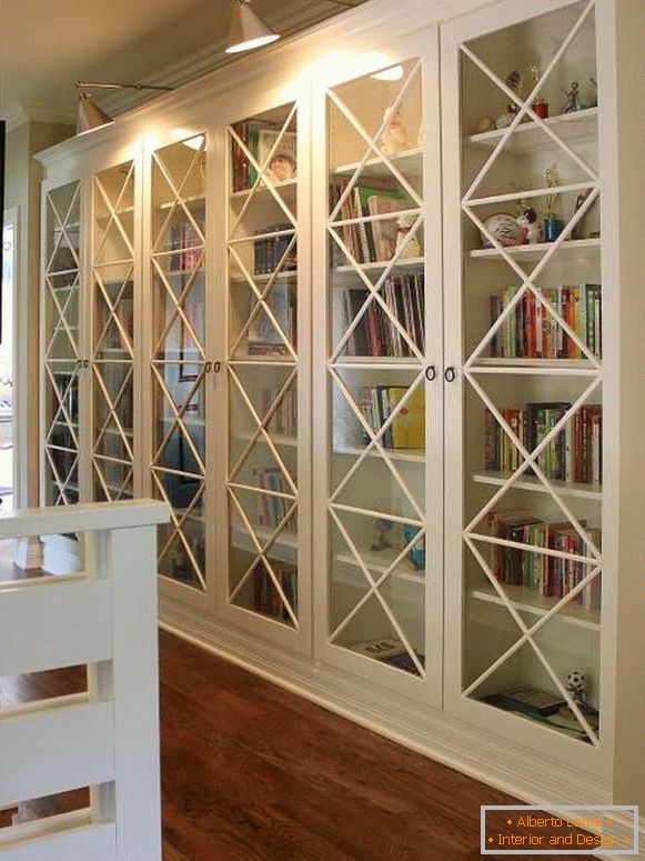 White cabinet with glass doors - photo