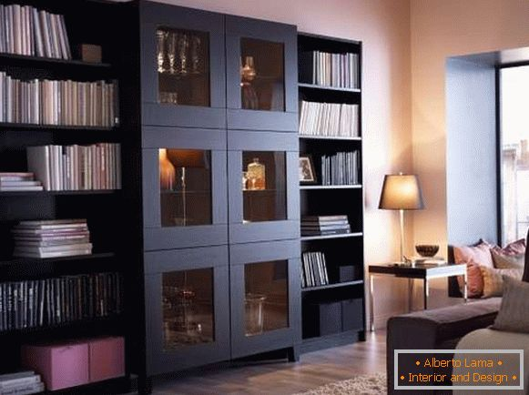 Bookcases with glass doors and open shelves
