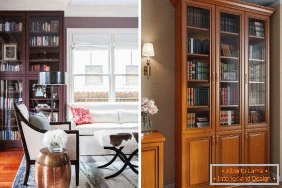 Bookcases with glass doors for home library