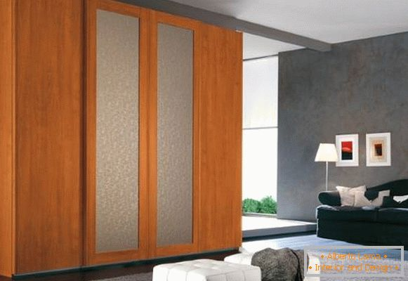High wooden wardrobe