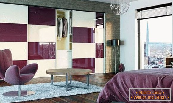Bedroom in lilac color with built-in wardrobe