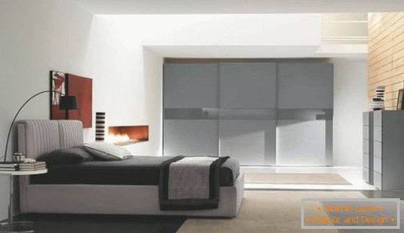Gray wardrobe in the bedroom