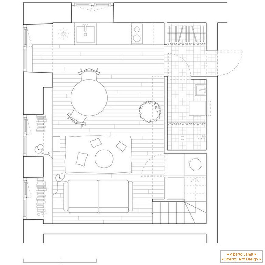 The layout of a 24-meter apartment in Vilnius