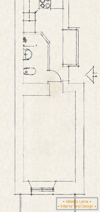 Plan by the hand of a small apartment