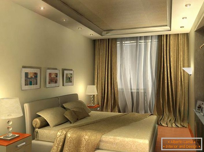 Light beige bedroom in high-tech style looks spacious due to well-chosen lighting.