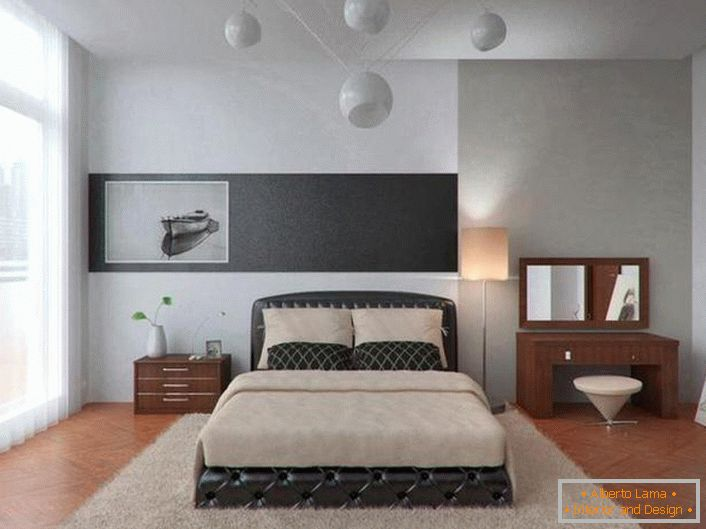 Bright bedroom in high-tech style in a city apartment. Interesting design of the chandelier.