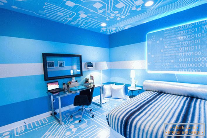 Creative design of the floor and ceiling determines the style of high-tech.