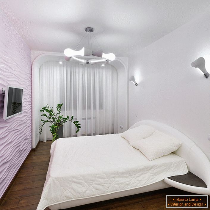 The bedroom is high-tech in soft light colors with no extra furniture.