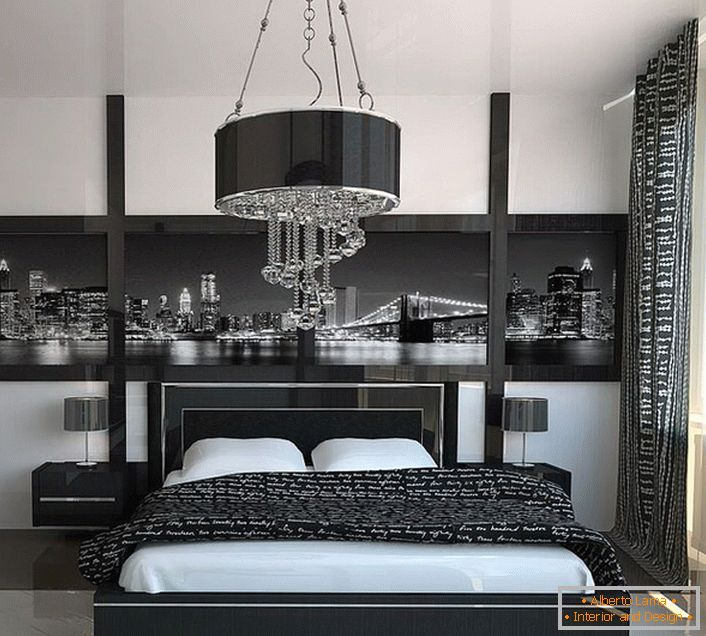 Geometric severity and austerity in the design of the bedroom in the style of high-tech.