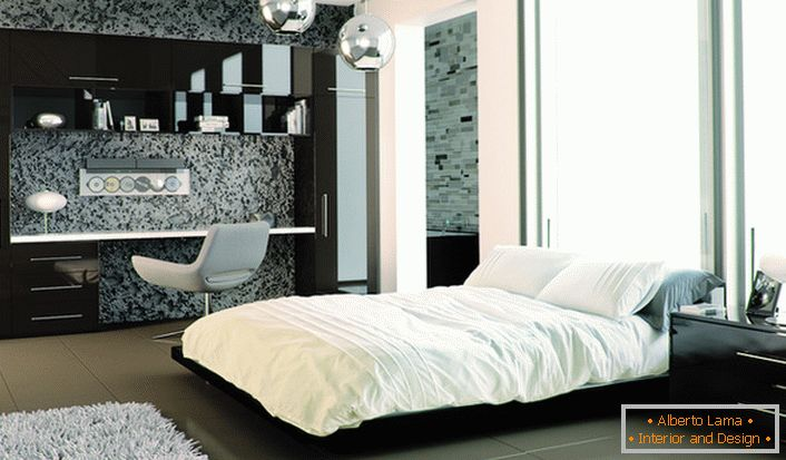 In the design of the bedroom furniture with a glossy surface is successfully combined with frosted walls.