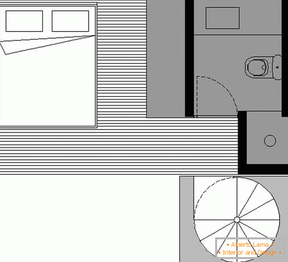 Plan of the second level of a small apartment