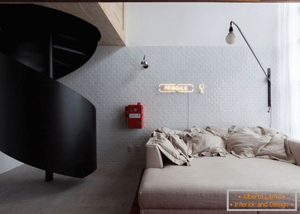 Folding sofa in the interior design of a small apartment