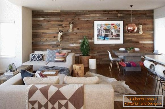 Wooden wall in the interior - photo of the laminate