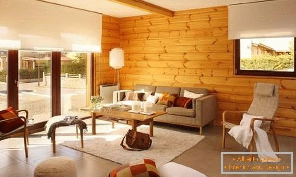 Wooden walls in the interior of the living room of a private house