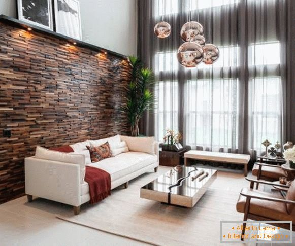 Wooden panels in the interior - chic living room design