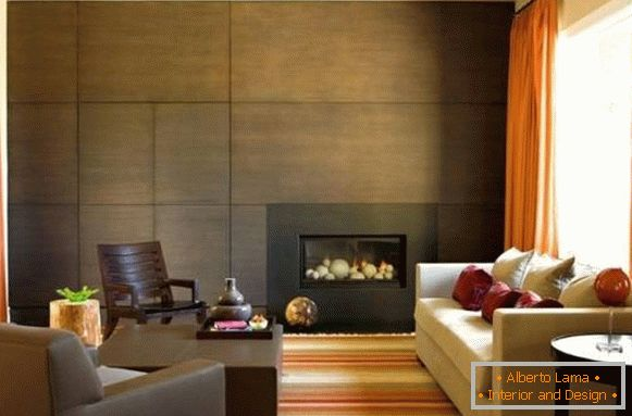 Wooden panels for interior decoration of walls - photo of living room