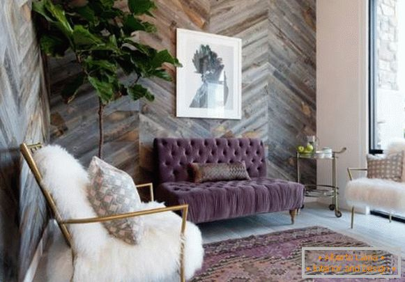 Wooden panels for interior decoration of walls - photo with imitation of antiquity