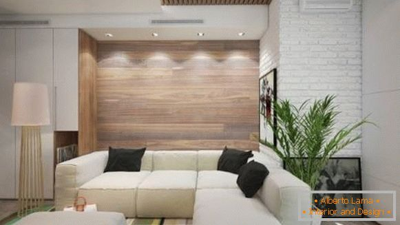 Wall decoration with wooden panels - photo of living room in modern style