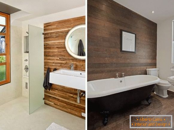 Wooden panels for interior decoration of walls - photo of bathroom