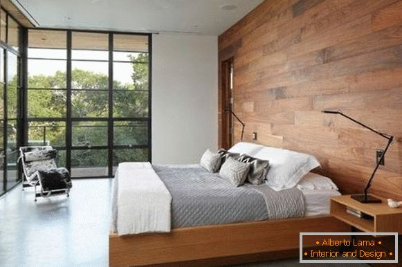 Options for decorating the walls with wood in the interior of the bedroom