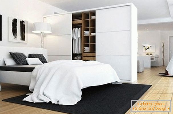Large wardrobe in the bedroom of the living room