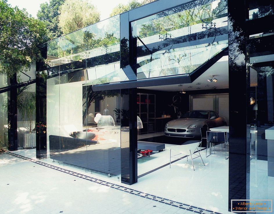 Modern garage with glass gates