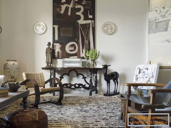 Living room decor elements in classic Italian style