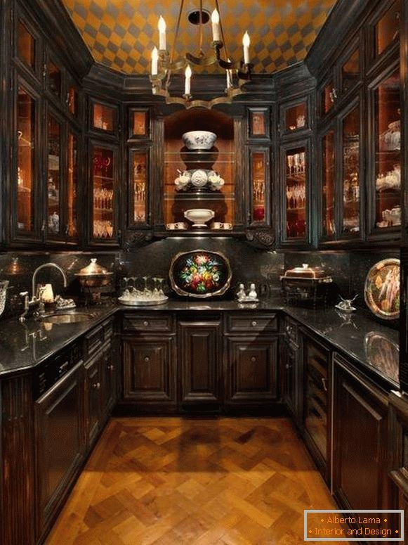 Decorative elements for kitchen interior in classical style