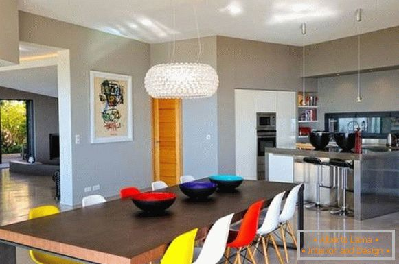Bright fashionable decor in the interior of the kitchen in the photo